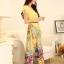 ชุดเดรสยาวแฟชั่นเกาหลี ชุดเดรสน่ารัก ชุดเดรสยาว ชุดเดรสลายดอก ชุดเดรสยาวกระโปรงลายดอกไม้ สีเหลือง ( M,L,XL,XXL ) thumbnail 5