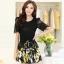 ชุดเดรสสั้นลายดอกไม้ เสื้อผ้าลูกไม้สีดำ เย็บต่อด้วยกระโปรงสั้นลายดอกไม้สีเหลือง เป็นชุดเดรสแฟชั่นน่ารักๆ สไตล์เกาหลี ( S,M,L,XL,) thumbnail 1