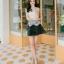 ชุดราตรีสั้น ชุดออกงาน ชุดเดรสแฟชั่นเกาหลี ชุดเดรสน่ารัก ชุดเดรสออกงาน ชุดเดรสสั้น เสื้อสีขาว แขนกุด เย็บติดกระโปรงสีดำ ( S,M,L,XL ) thumbnail 9