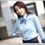 เสื้อเชิ้ตทำงานสีฟ้า แขนยาว คอปก เอวเข้ารูป สวยหรู thumbnail 1