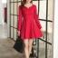 ชุดเดรสทำงานสวยๆ สีแดง คอกลม แขนยาว เนื้อผ้าดี ,S M L XL thumbnail 9