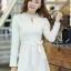 ชุดเดรสสั้นแฟชั่นเกาหลี มินิเดรสสั้นสีขาว คอปักมุก แขนยาว เป็นชุดเดรสสวยๆ แนวหวานน่ารัก เรียบร้อย ดูดี สามารถใส่ออกงานได้ ( M L XL ) thumbnail 1