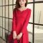 ชุดเดรสทำงานสวยๆ สีแดง คอกลม แขนยาว เนื้อผ้าดี ,S M L XL thumbnail 5