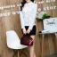 เสื้อทำงานแฟชั่นเกาหลี เรียบหรู ดูดี เสื้อเชิ้ตทำงานสีขาว คอปก แขนยาว ผ้าชีฟอง แต่งลายดอกไม้ , S M L XL thumbnail 6