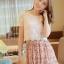 ชุดเดรสสั้นแฟชั่นเกาหลี สีชมพู พิมพ์ลายผีเสื้อ แบบสวย จะทำให้คุณเป็นสาวหวาน น่ารักๆ สามารถใส่ไปงานแต่งงาน ใส่ทำงานได้ thumbnail 1