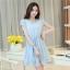 ชุดเดรสสั้นสีฟ้า แนวสวยหวาน น่ารัก ผ้าชีฟอง คอจีบ แขนสั้น เอวแบบสายรูด S M L thumbnail 6