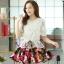 ชุดเดรสสั้นลายดอกไม้ เสื้อผ้าลูกไม้สีขาว เย็บต่อด้วยกระโปรงสั้นลายดอกไม้ เป็นชุดเดรสแฟชั่นน่ารักๆ สไตล์เกาหลี ( S,M,L,XL,) thumbnail 7