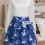 ชุดเดรสสั้นโทนสีฟ้าขาวสวยๆ สไตล์เกาหลี เสื้อเชิ้ตคอปกประดับคริสตัล แขนยาว เย็บต่อด้วยกระโปรงสีน้ำเงินพิมพ์ลายนกสวยเก๋ ใส่เที่ยว ใส่ทำงานได้ thumbnail 10