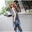 ชุดเซ็ทเสื้อกางเกงขายาว สีน้ำเงินพิมพ์ลาย แขนกุด คอกลม กระดุมหน้า น่ารัก thumbnail 4