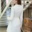 ชุดเดรสสั้นแฟชั่นเกาหลี มินิเดรสสั้นสีขาว คอปักมุก แขนยาว เป็นชุดเดรสสวยๆ แนวหวานน่ารัก เรียบร้อย ดูดี สามารถใส่ออกงานได้ ( M L XL ) thumbnail 5