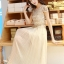 ชุดเดรสยาวสวยๆ สีครีมเบจ เสื้อผ้าลูกไม้อย่างดีเย็บต่อด้วยกระโปรงผ้าชีฟอง ใส่ไปงานแต่งงาน ออกงานเลี้ยง ให้ลุคสวยหรู ดูดี ( S M L XL ) thumbnail 10