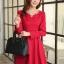 ชุดเดรสทำงานสวยๆ สีแดง คอกลม แขนยาว เนื้อผ้าดี ,S M L XL thumbnail 7