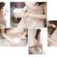 ชุดเดรสสั้นเกาหลีน่ารัก เดรสสั้นลูกไม้สีชมพูอ่อนลายดอกไม้ คอกลม แขนกุด thumbnail 4