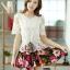 ชุดเดรสสั้นลายดอกไม้ เสื้อผ้าลูกไม้สีขาว เย็บต่อด้วยกระโปรงสั้นลายดอกไม้ เป็นชุดเดรสแฟชั่นน่ารักๆ สไตล์เกาหลี ( S,M,L,XL,) thumbnail 3