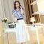 ชุดเดรสยาวสวยหรู โทนสีน้ำเงินขาว ปักลายสวยเก๋ เอวคาด กระโปรงสีขาวผ้าชีฟอง thumbnail 1