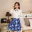 ชุดเดรสสั้นโทนสีฟ้าขาวสวยๆ สไตล์เกาหลี เสื้อเชิ้ตคอปกประดับคริสตัล แขนยาว เย็บต่อด้วยกระโปรงสีน้ำเงินพิมพ์ลายนกสวยเก๋ ใส่เที่ยว ใส่ทำงานได้ thumbnail 7
