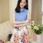 ชุดเดรสสั้นแฟชั่นเกาหลี สียีนส์ กระโปรงลายดอกไม้ เหมาะกับการใส่เที่ยววันสบายๆ ดูหนังช้อปปิ้ง ให้ลุคสาวหวาน น่ารักใสๆ thumbnail 2