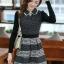 ชุดทำงานออฟฟิศ คุณครู ราชการ ชุดแซกกระโปรงสั้น ลายตาราง สีดำ แขนยาว ชุดเดรสสวยหวาน น่ารัก แฟชั่นสไตล์เกาหลี ( M,L,XL) thumbnail 2
