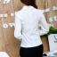 เสื้อทำงานแฟชั่นเกาหลี เรียบหรู ดูดี เสื้อเชิ้ตทำงานสีขาว คอปก แขนยาว ผ้าชีฟอง แต่งลายดอกไม้ , S M L XL thumbnail 4
