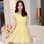 ชุดเดรสสั้นสีเหลือง แนวสวยหวาน น่ารัก ผ้าชีฟอง คอจีบ แขนสั้น เอวแบบสายรูด S M L thumbnail 1