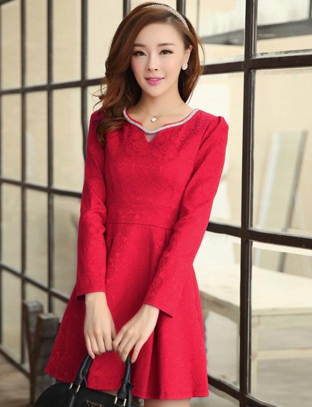 ชุดเดรสทำงานสวยๆ สีแดง คอกลม แขนยาว เนื้อผ้าดี ,S M L XL