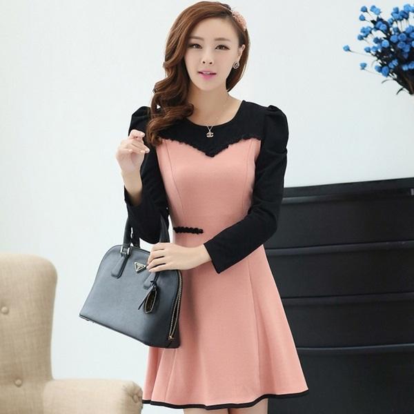 ชุดเดรสทำงานออฟฟิศ,คุณครู,ราชการ สีชมพู แขนยาว เป็นชุดเดรสหวาน แบบสวย น่ารัก สไตล์แฟชั่นเกาหลี ( S M L XL )
