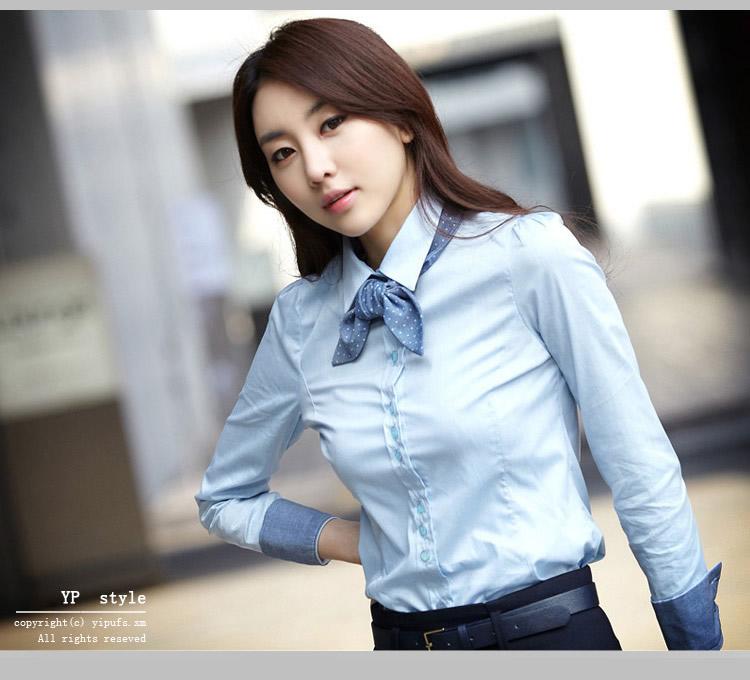 เสื้อเชิ้ตทำงานสีฟ้า แขนยาว คอปก เอวเข้ารูป สวยหรู