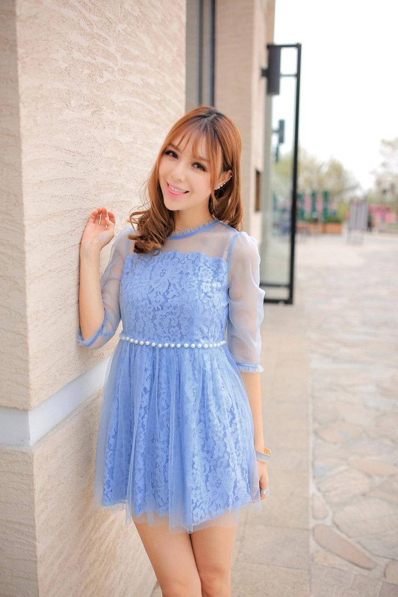 ชุดเดรสสีฟ้าใส่ออกงาน ไปงานแต่งงานสวยหวานน่ารักๆ ผ้าลูกไม้ แขนสามส่วน ซับนอกด้วยผ้าซีทรู