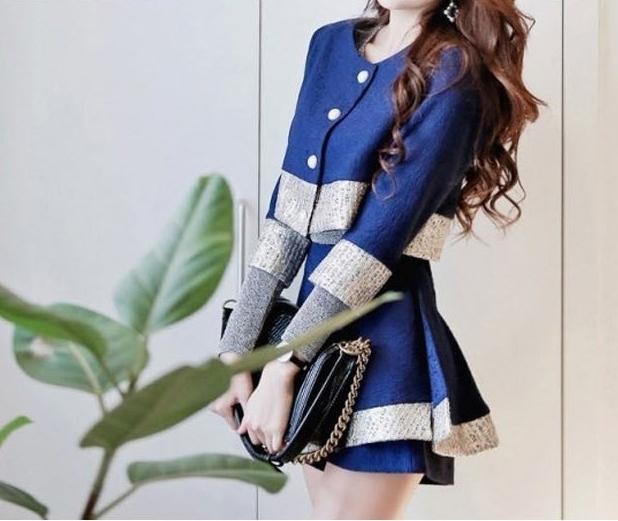 ชุดเซต 2 ชิ้น เสื้อคลุมเก๋ๆ + กางเกงกระโปรงขาสั้น สีกรมท่า ผ้าโพลีเอสเตอร์ ให้ลุคสวยเท่ห์ ดูดี สไตล์แฟชั่นเกาหลี ( S M L )