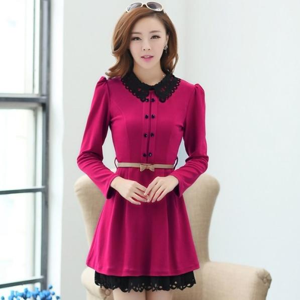 ชุดทำงานสวยๆ ชุดเดรสสั้น สีชมพูบานเย็น คอปก แขนยาว ให้ลุคสาวหวานสไตล์เกาหลี สวยหรู ดูดี ( S M L )