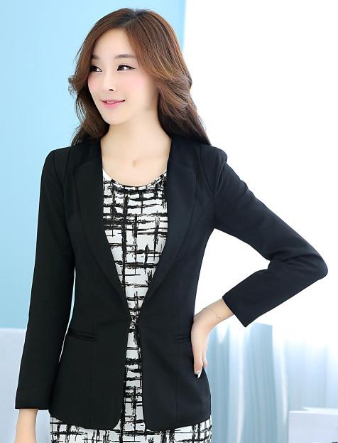 เสื้อสูททำงานผู้หญิง สีดำ แขนยาว คอปก เอวเข้ารูป