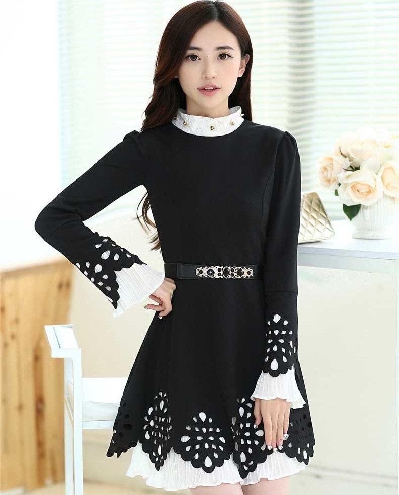 ชุดทำงานแฟชั่นเกาหลี ชุดทำงานออฟฟิศสวยๆ มินิเดรสสีดำ คอเต๋า แขนยาว ปลายเสื้อ + กระโปรง ฉยุลายเก๋ๆ ( S M L XL )
