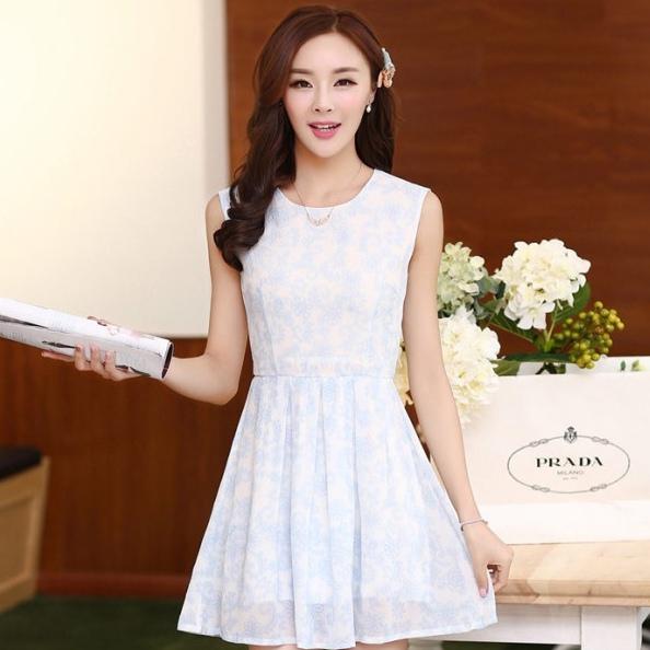 ชุดเดรสไปงานแต่งงาน ใส่ออกงาน สีฟ้า มินิเดรส ผ้าชีฟอง แขนกุด เอวเข้ารูป กระโปรงทรงสวิง ชุดเดรสสวยหวาน น่ารัก แฟชั่นสไตล์เกาหลี ( S,M,L,XL,)
