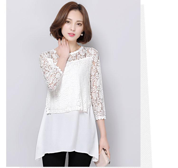 เสื้อลูกไม้สีขาว แขนสามส่วน ทรงปล่อย ตัวยาว ลุคเรียบๆ สวยหวาน สวมใส่สบาย