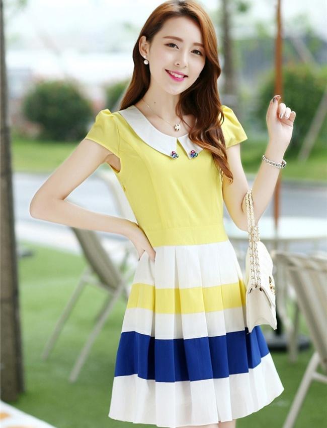 ชุดเดรสทำงานสวยๆ ราคาถูก ( S,M,L ) ชุดเดรสกระโปรงสั้นสีเหลือง ผ้าชีฟอง คอปก กระโปรงลายริ้วขวางขาว เขียว เหลือง