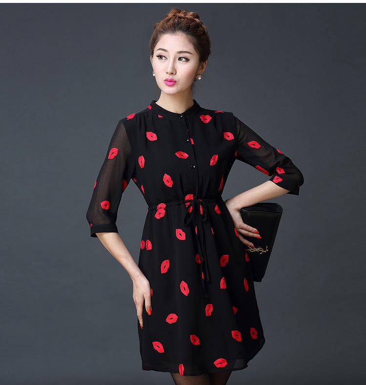 ชุดเดรสสั้นสีดำ ผ้าชีฟอง ปักลายปากสุดเก๋ คอจีน แขนยาวสี่ส่วน แฟชั่นสไตล์เกาหลี