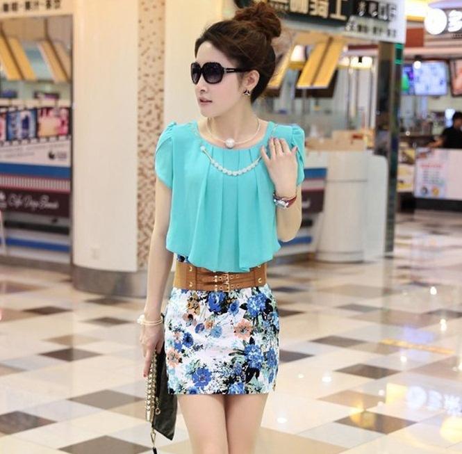 ชุดเดรสแฟชั่นเกาหลี ชุดเดรสน่ารัก ชุดเดรสสั้น ชุดเดรสสวย ๆ เสื้อคอกลม แขนสั้น กระโปรงเข้ารูปลายดอกไม้ ( S, M, XL )