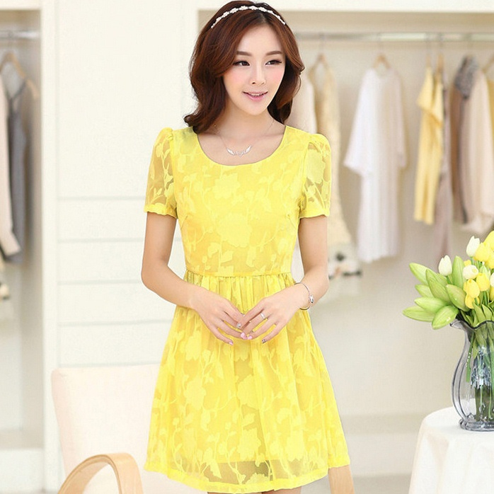 ชุดทำงานสวยๆ ชุดเดรสสั้น สีเหลือง ให้ลุคสาวหวานสไตล์เกาหลี สวยหรู ดูดี เรียบร้อย ( S,M,L,XL )