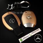 กรอบ-เคส ใส่กุญแจรีโมทรถยนต์ รุ่นตูดตัด ABS Mercedes Benz ผิวด้าน สีเทอง