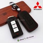ซองหนังแท้ ใส่กุญแจรีโมทรถยนต์ รุ่นโลโก้เหล็ก Mitsubishi Mirage,Attrage,Triton,Pajero Smart Key 2,3 ปุ่ม สีดำ