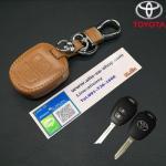 ซองหนังแท้ ใส่กุญแจรีโมทรถยนต์ Toyota New Vios,Yaris โลโก้เงิน รุ่น 2 ปุ่ม สีน้ำตาล