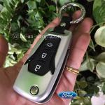 กรอบ-เคส ใส่กุญแจรีโมทรถยนต์ รุ่นไทเทเนียม All New Ford Ranger,Everest 2015-17 Key 2-3 ปุ่ม สีเงิน