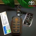 ซองหนังแท้ ใส่กุญแจรีโมท รุ่นด้ายสี All New Toyota Fortuner/Camry 2015-18 Smart Key 4 ปุ่ม สีส้ม
