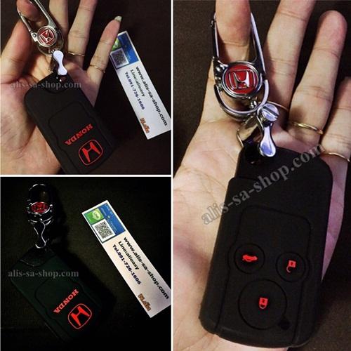 ปลอกซิลิโคน หุ้มกุญแจรีโมทรถยนต์ Honda Civic FB/CRV Keyless 3 ปุ่ม สี ดำ/แดง