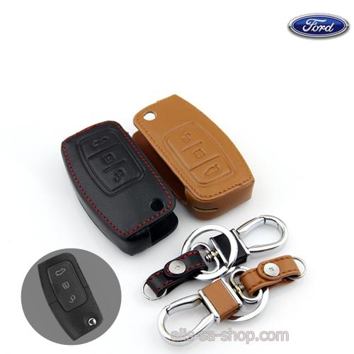 ซองหนังแท้ใส่กุญแจรีโมทรถยนต์ Ford Fiesta,Focus พับข้าง รุ่น 3 ปุ่ม
