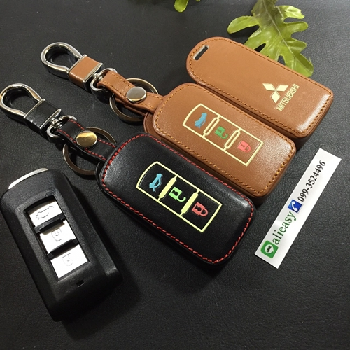 ซองหนังแท้ ใส่กุญแจรีโมทรถยนต์ รุ่นเรืองแสง Mitsubishi Mirage,Attrage,Triton,Pajero