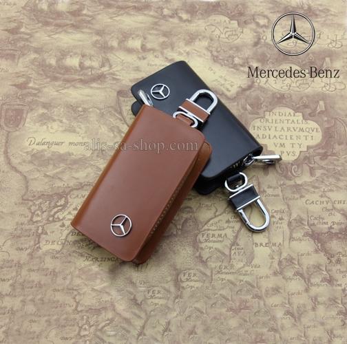 กระเป๋าซองหนังแท้ ใส่กุญแจรีโมทรถยนต์ โลโก้ Mercedes Benz รุ่น ซิบรอบ