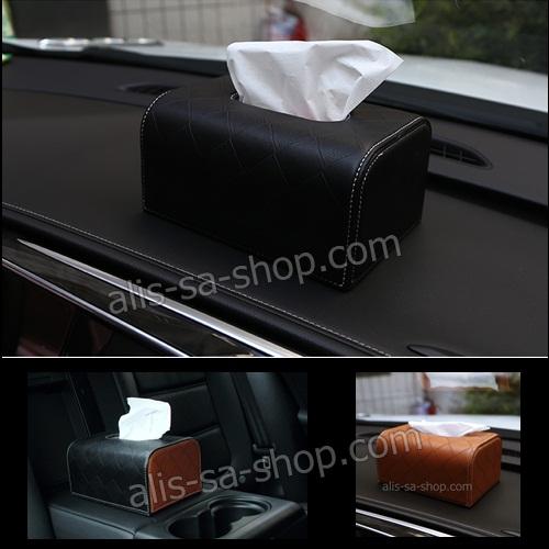 กล่องทิชชู้ หุ้มด้วยหนัง Hi-End อย่างดีคุณภาพเยี่ยม สำหรับใช้ตกแต่ภายในรถยนต์