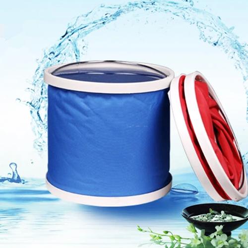 ถังใส่น้ำ ล้างรถยนต์ อเนกประสงค์ แบบพับได้ พกพาสะดวก (สีแดง,สีฟ้า)