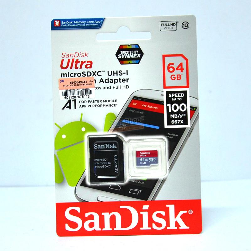 เมมโมรี่ไมโครเอสดีการ์ด ++ 64 GB Micro-SD Sandisk Ultra (Class10) ราคา 790.- ส่งฟรี